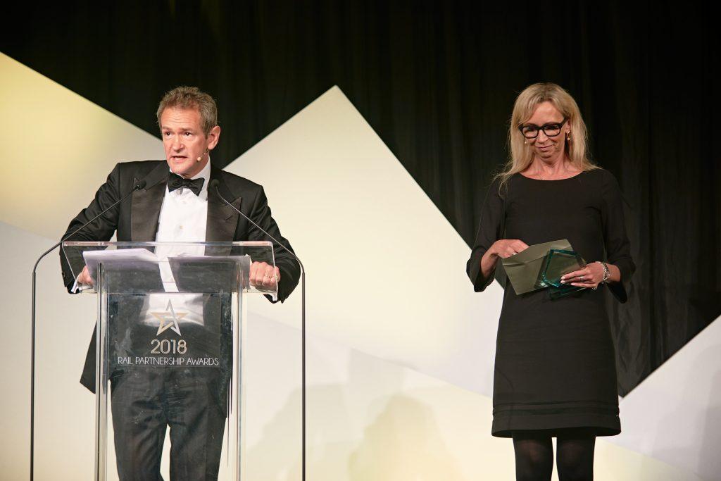 Host Alexander Armstrong alongside judge Caroline Murdoch, Network Rail's corporate communications director.